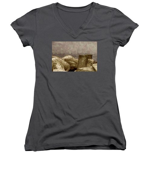 Rocks And Pilings Women's V-Neck (Athletic Fit)