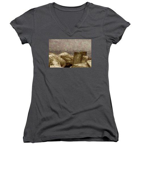 Rocks And Pilings Women's V-Neck T-Shirt