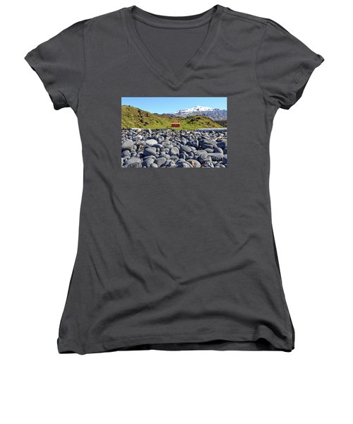 Women's V-Neck T-Shirt featuring the photograph Rocky Beach Iceland by Edward Fielding