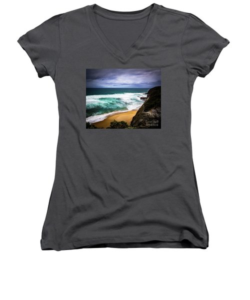 Women's V-Neck T-Shirt (Junior Cut) featuring the photograph Rocky Coast by Perry Webster