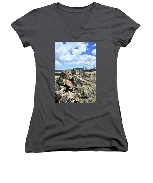 Rocky Crest At Big Horn Pass Women's V-Neck (Athletic Fit)