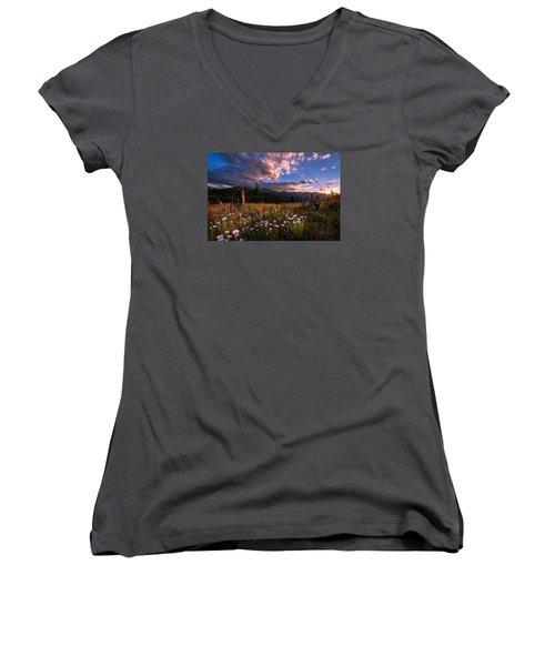 Rocky Mountain Summer Sunset Women's V-Neck T-Shirt (Junior Cut) by Michael J Bauer