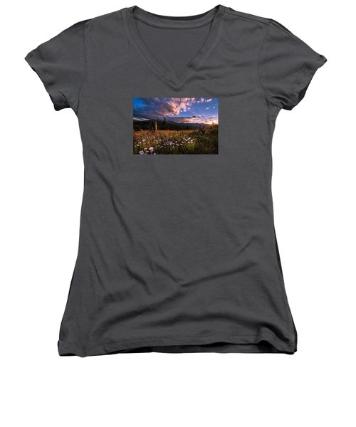 Rocky Mountain Summer Sunset Women's V-Neck (Athletic Fit)