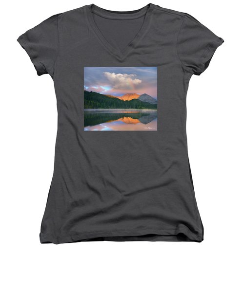 Rocky Mountain Women's V-Neck T-Shirt (Junior Cut) by Tim Fitzharris