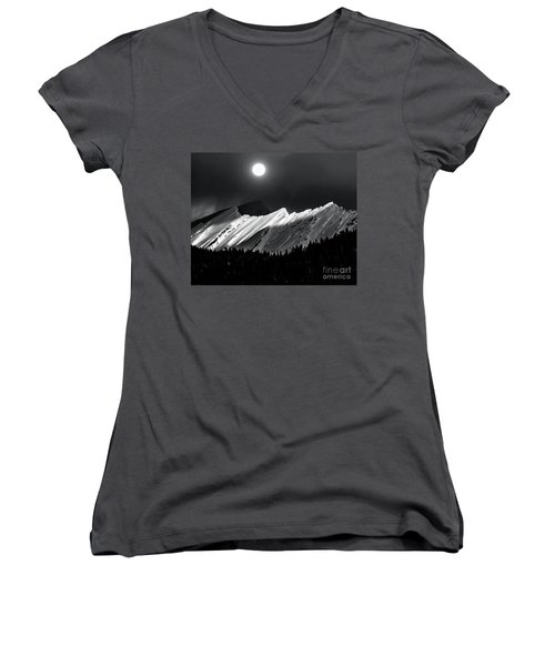 Rocky Mountains In Moonlight Women's V-Neck T-Shirt (Junior Cut) by Elaine Hunter