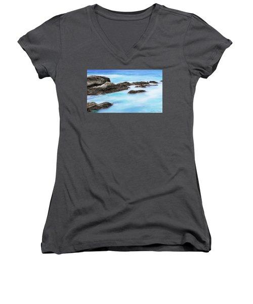 Rocky Ocean Women's V-Neck T-Shirt (Junior Cut) by John A Rodriguez