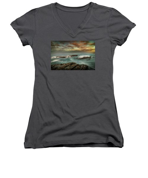 Rocky Shores At Victoria Beach Women's V-Neck T-Shirt