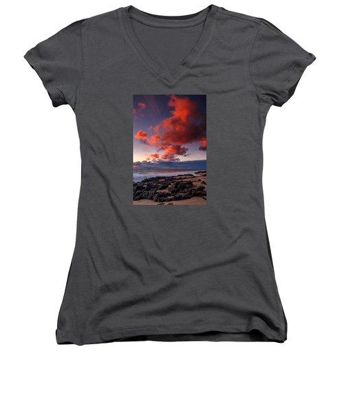 Rocky Sunset Women's V-Neck T-Shirt