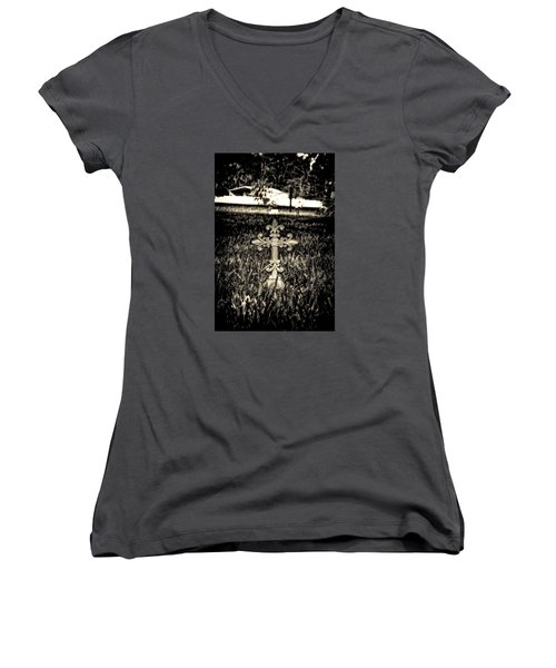 Rod Iron Cross  Women's V-Neck T-Shirt (Junior Cut) by Michael White