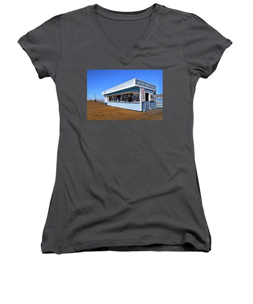 Women's V-Neck T-Shirt (Junior Cut) featuring the photograph Rod Rental At The Pismo Beach Pier by Floyd Snyder