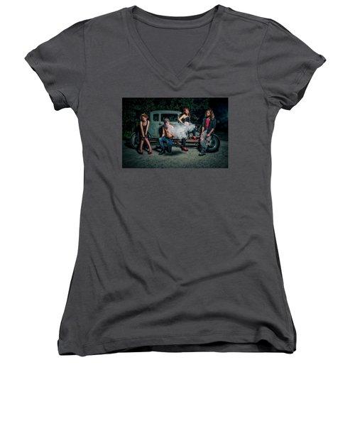 Rodders #3 Women's V-Neck T-Shirt (Junior Cut) by Jerry Golab