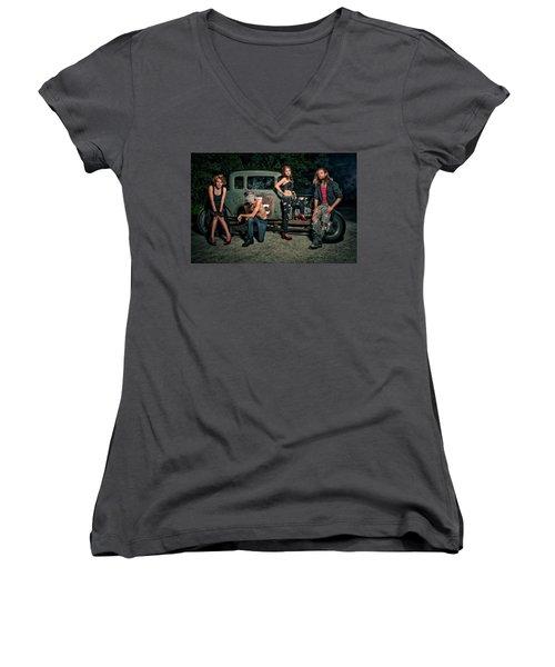 Rodders #5 Women's V-Neck T-Shirt (Junior Cut) by Jerry Golab