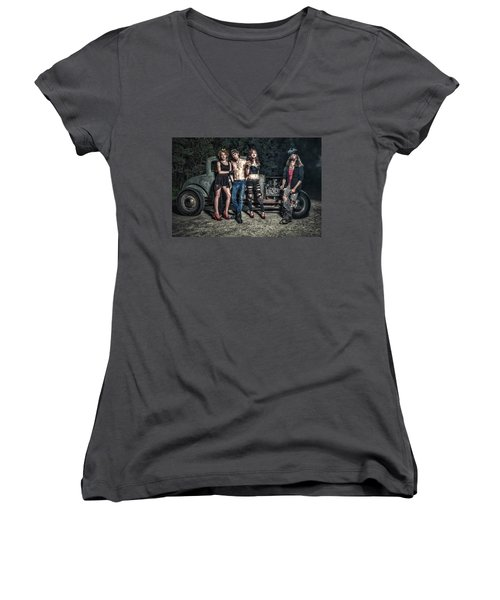 Rodders #6 Women's V-Neck T-Shirt (Junior Cut) by Jerry Golab