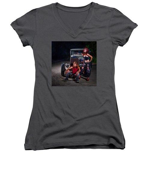 Rodders Women's V-Neck T-Shirt (Junior Cut) by Jerry Golab