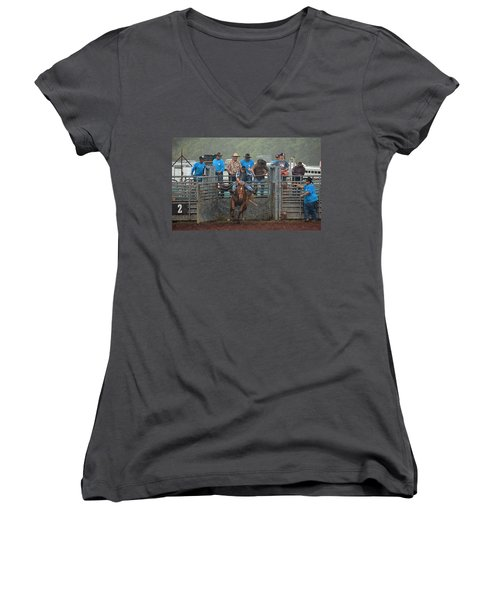 Women's V-Neck T-Shirt (Junior Cut) featuring the photograph Rodeo Bronco by Lori Seaman