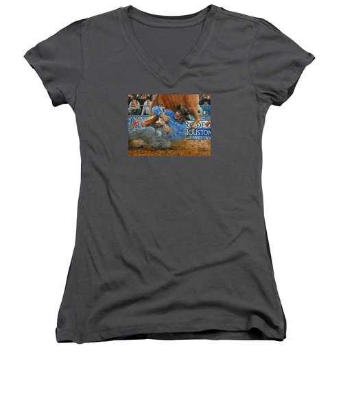 Women's V-Neck T-Shirt (Junior Cut) featuring the painting Rodeo Houston --steer Wrestling by Doug Kreuger