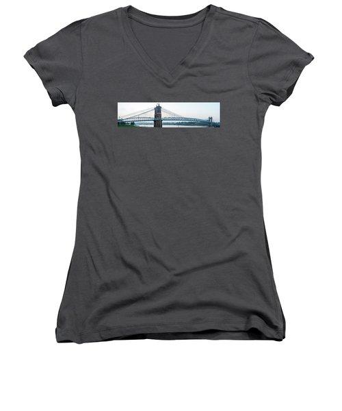 Roebling Bridge Women's V-Neck (Athletic Fit)