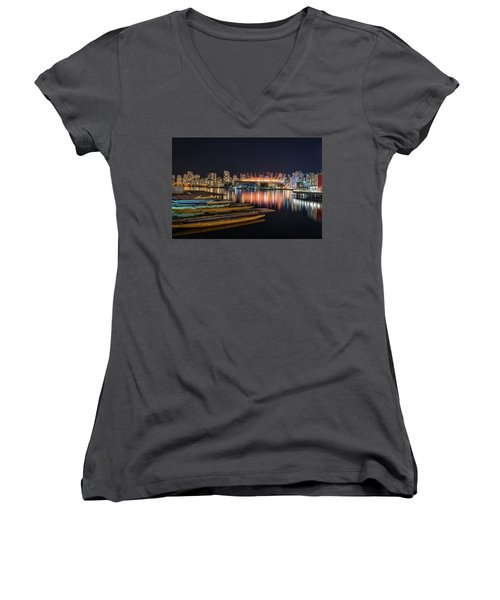 Rogers Arena Vancouver Women's V-Neck T-Shirt (Junior Cut) by Sabine Edrissi