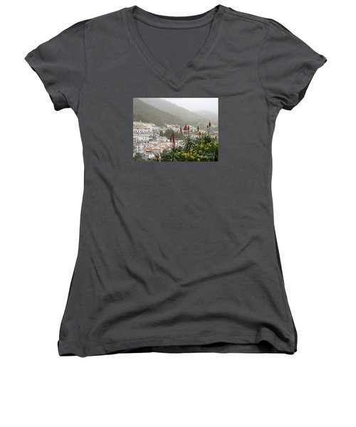 Women's V-Neck T-Shirt (Junior Cut) featuring the photograph Rojo In The Pueblos Blancos by Suzanne Oesterling