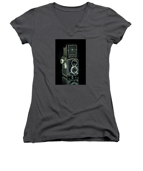 Women's V-Neck T-Shirt (Junior Cut) featuring the photograph Rollei Twin Lense by Keith Hawley