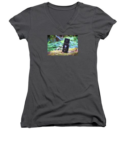 Women's V-Neck T-Shirt (Junior Cut) featuring the photograph Rolleicord 2 by Keith Hawley