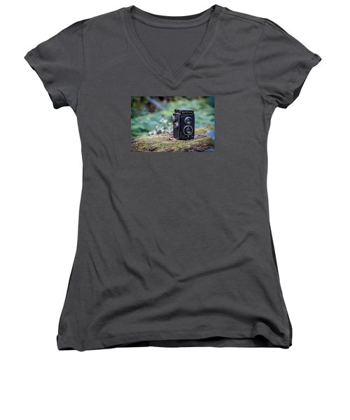 Women's V-Neck T-Shirt (Junior Cut) featuring the photograph Rolleicord Tlr by Keith Hawley