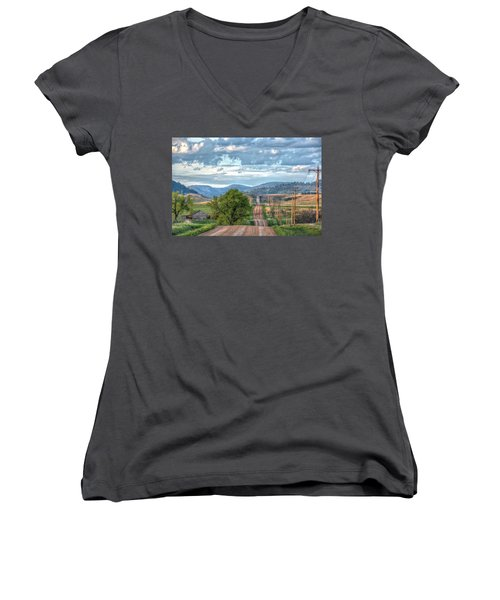 Women's V-Neck featuring the photograph Rollercoaster Country Road by Fiskr Larsen