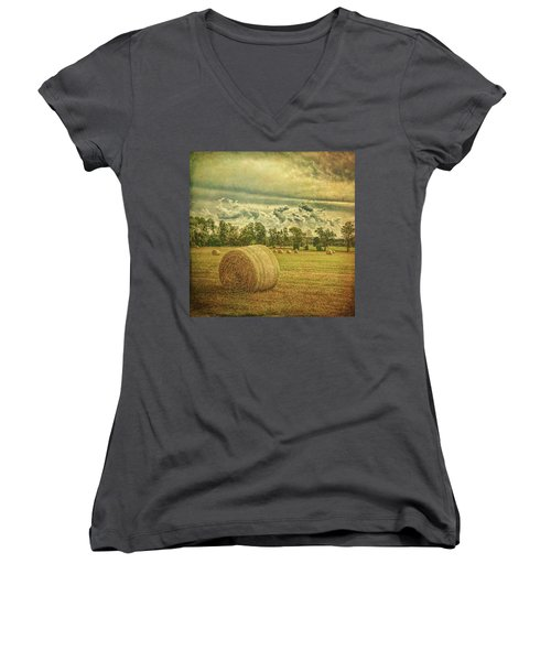 Women's V-Neck T-Shirt featuring the photograph Rollin' Hay by Lewis Mann
