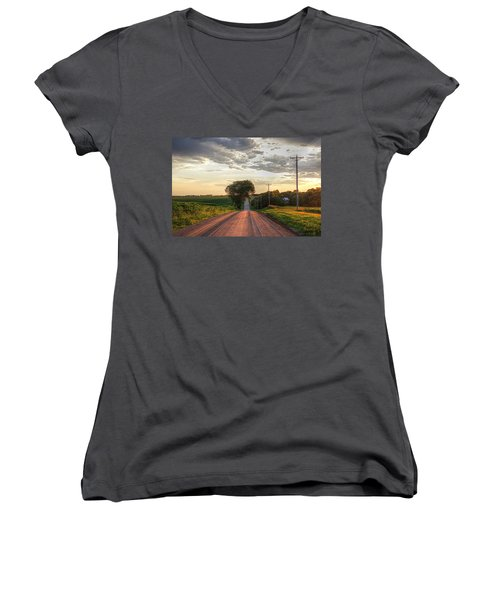 Rolling Down A Country Road Women's V-Neck T-Shirt (Junior Cut) by Karen McKenzie McAdoo