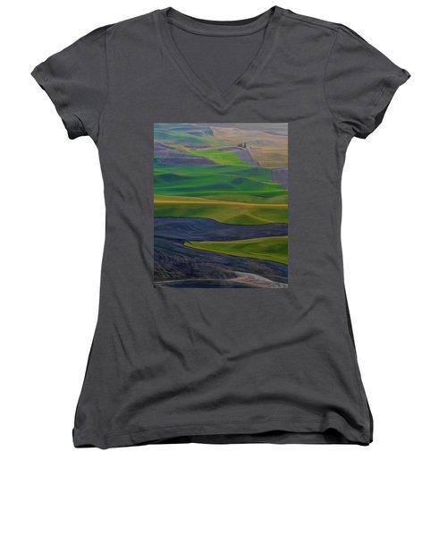Rolling Fields Of The Palouse Women's V-Neck T-Shirt (Junior Cut) by James Hammond