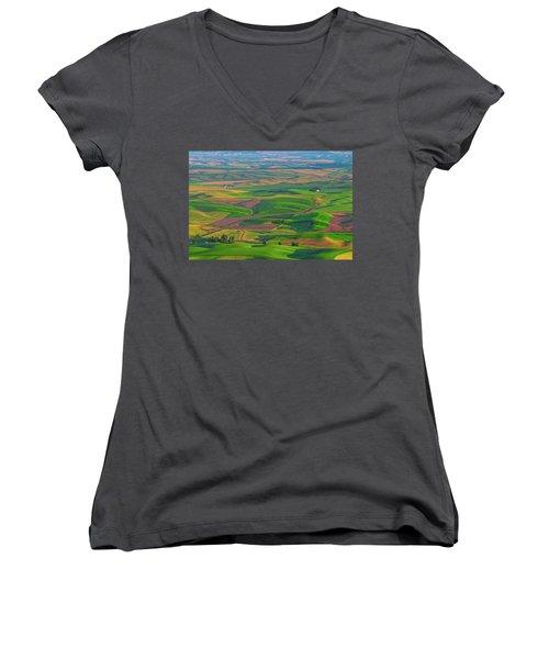 Rolling Green Hills Of The Palouse Women's V-Neck T-Shirt (Junior Cut) by James Hammond