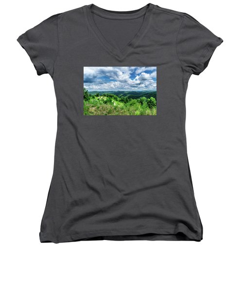 Rolling Hills And Puffy Clouds Women's V-Neck