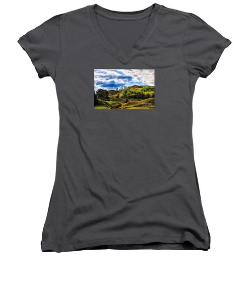 Women's V-Neck T-Shirt (Junior Cut) featuring the photograph Rolling Hills by Rick Bragan
