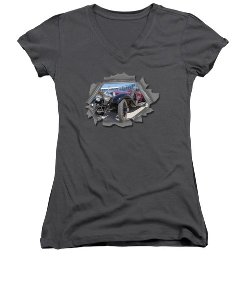 Rolls Out  T Shirt Women's V-Neck T-Shirt (Junior Cut) by Larry Bishop