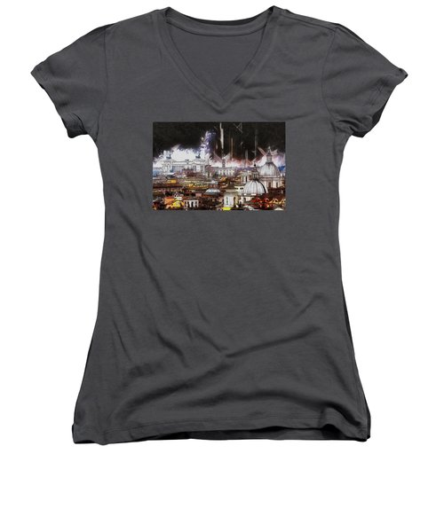 Women's V-Neck T-Shirt (Junior Cut) featuring the painting Roma Aeterna by Kai Saarto
