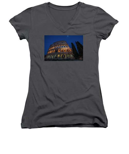 Roman Coliseum In The Evening  Women's V-Neck