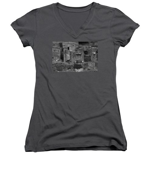 Women's V-Neck T-Shirt (Junior Cut) featuring the photograph Roman Colosseum Bw by Silvia Bruno