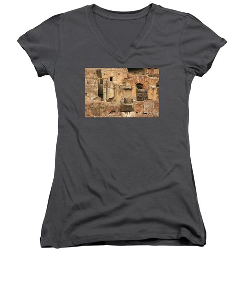 Women's V-Neck T-Shirt (Junior Cut) featuring the photograph Roman Colosseum by Silvia Bruno