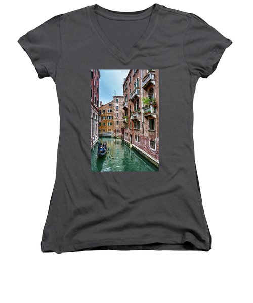Gondola Ride Surrounded By Vintage Buildings In Venice, Italy Women's V-Neck