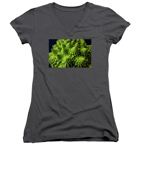 Romanesco Broccoli Women's V-Neck T-Shirt (Junior Cut) by Garry Gay