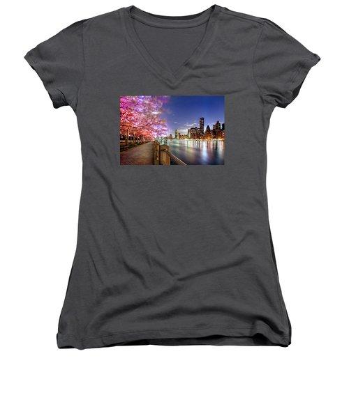 Romantic Blooms Women's V-Neck T-Shirt (Junior Cut) by Az Jackson