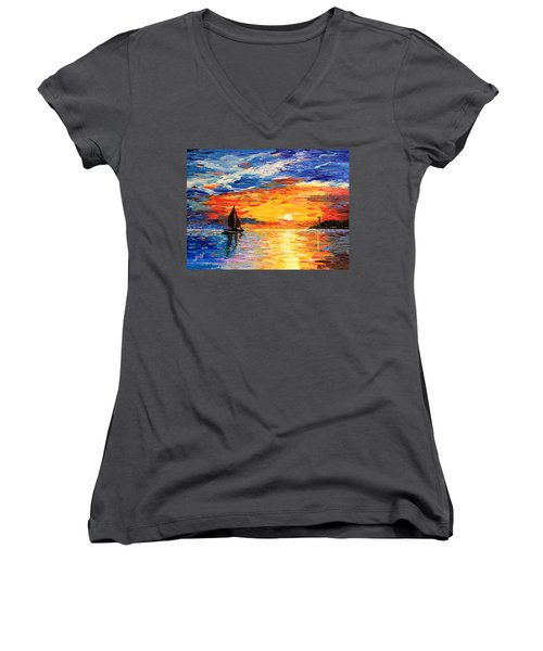 Women's V-Neck featuring the painting Romantic Sea Sunset by Georgeta  Blanaru