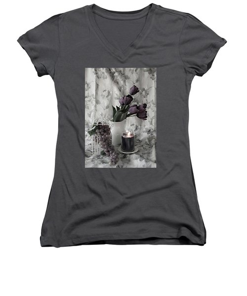 Women's V-Neck T-Shirt (Junior Cut) featuring the photograph Romantic Thoughts by Sherry Hallemeier