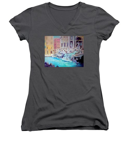 Rome  Italy Women's V-Neck T-Shirt (Junior Cut) by Paul Weerasekera
