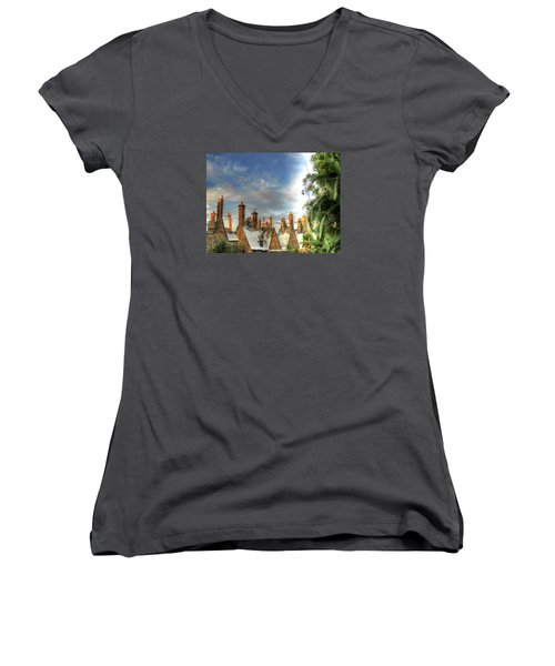 Women's V-Neck T-Shirt (Junior Cut) featuring the photograph rooftops Hogsmeade by Tom Prendergast