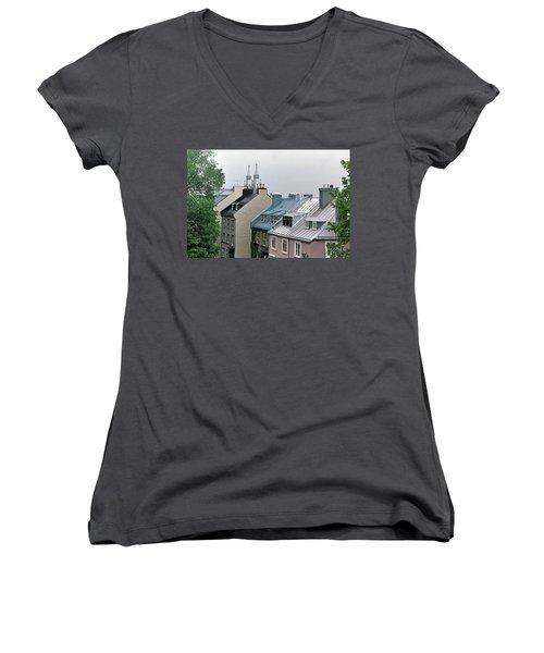 Women's V-Neck T-Shirt featuring the photograph Rooftops by John Schneider