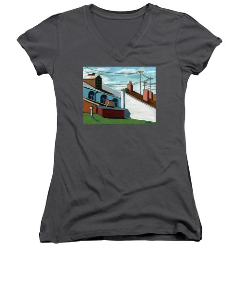 Women's V-Neck T-Shirt (Junior Cut) featuring the painting Rooftops by Linda Apple