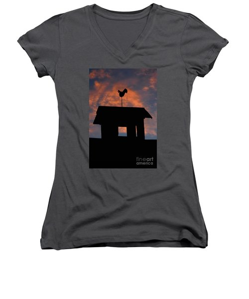 Women's V-Neck T-Shirt (Junior Cut) featuring the photograph Rooster Weather Vane Silhouette by Henry Kowalski