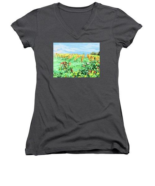 Roosthole Vineyard Women's V-Neck T-Shirt (Junior Cut) by Plum Ovelgonne