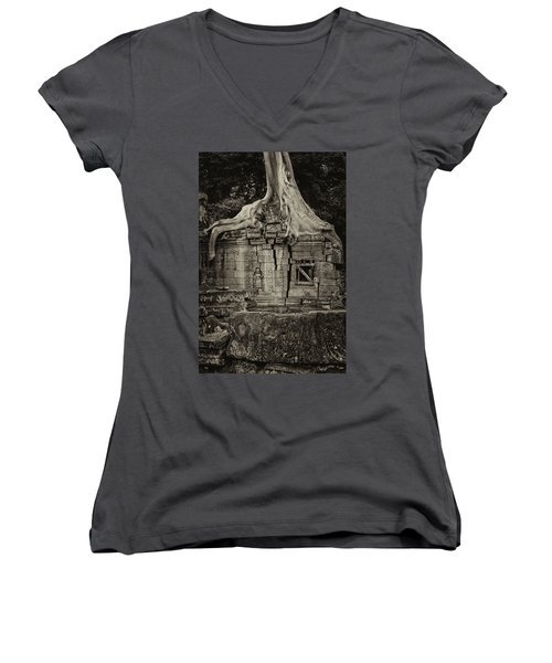 Women's V-Neck T-Shirt (Junior Cut) featuring the photograph Roots In Ruins 5, Ta Prohm, 2014 by Hitendra SINKAR